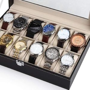 Other - Black leather Watch display case